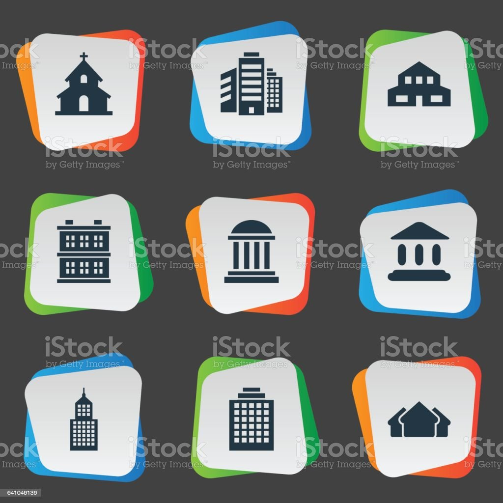 Set Of 9 Simple Structure Icons. vector art illustration