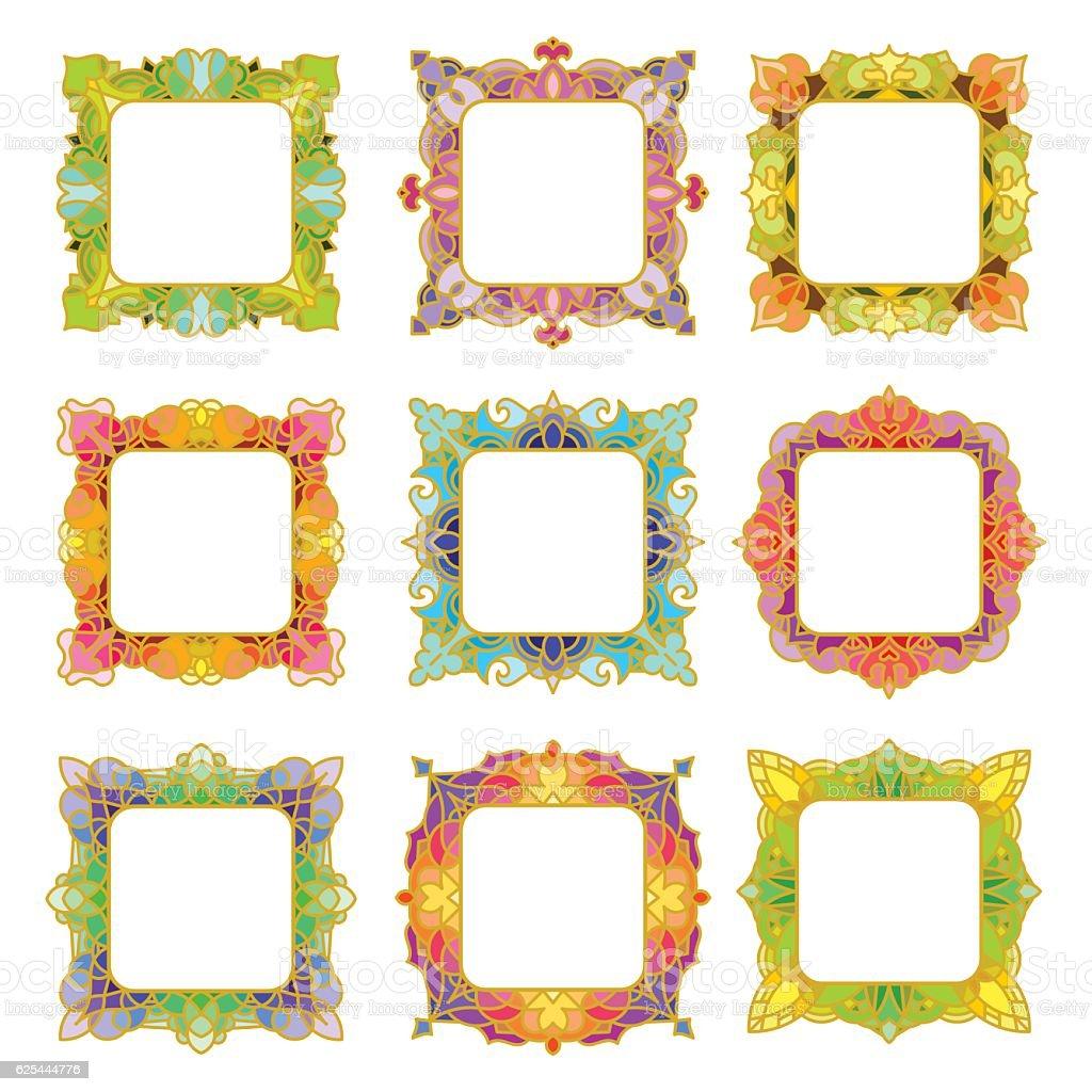 Set of 9 square frames vector art illustration