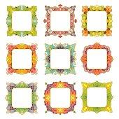 Set of 9 square frames