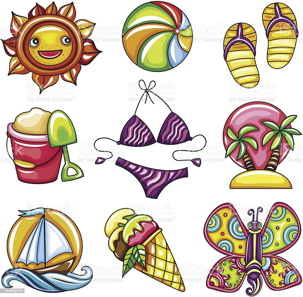 Set of 9 summer and beach icons royalty-free stock vector art