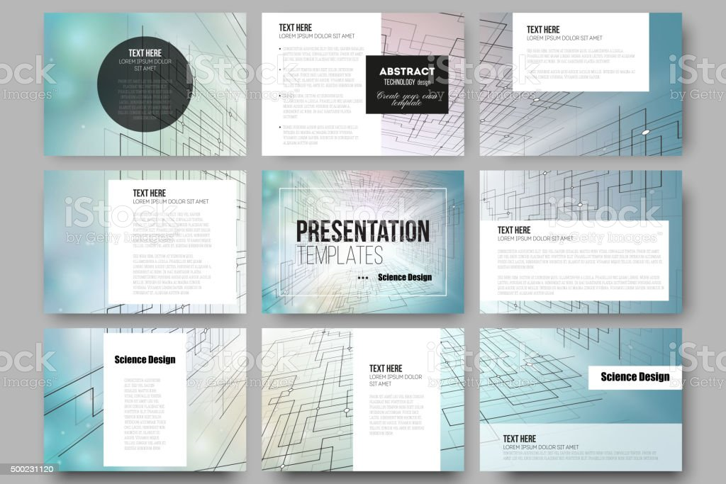 Set of 9 templates for presentation slides. Abstract vector background vector art illustration