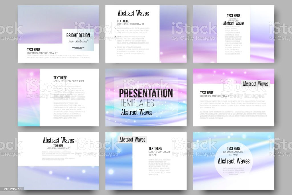 Set of 9 templates for presentation slides. Abstract wave vector vector art illustration