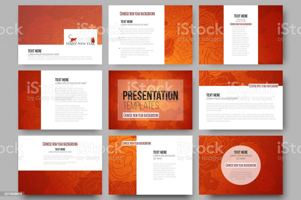 Set of 9 templates for presentation slides. Chinese new year vector art illustration