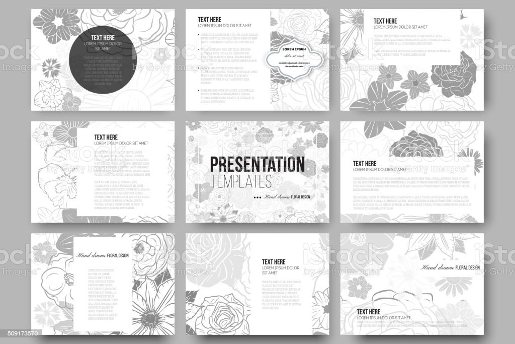 Set of 9 templates for presentation slides. Hand drawn floral vector art illustration