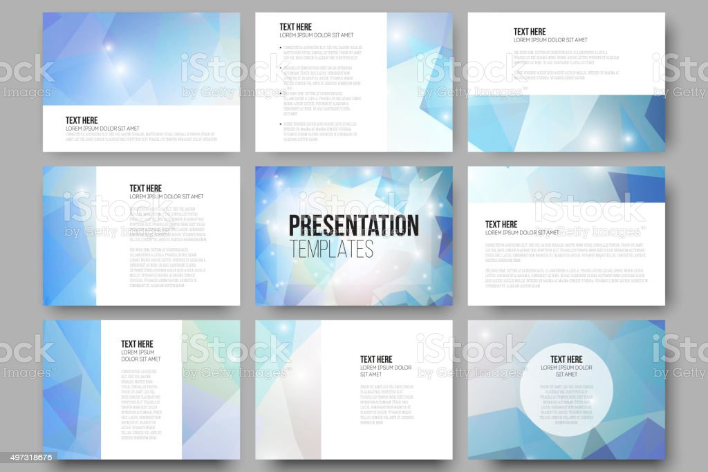 Set of 9 vector templates for presentation slides. Colorful graphic vector art illustration