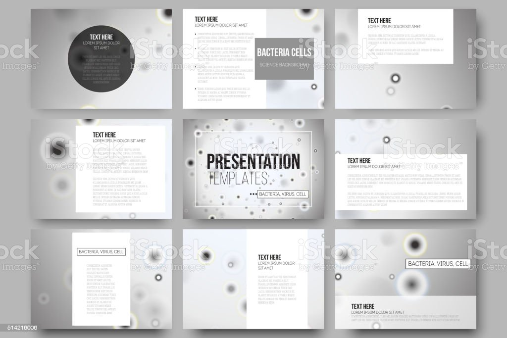 Set of 9 vector templates for presentation slides. Molecular research vector art illustration