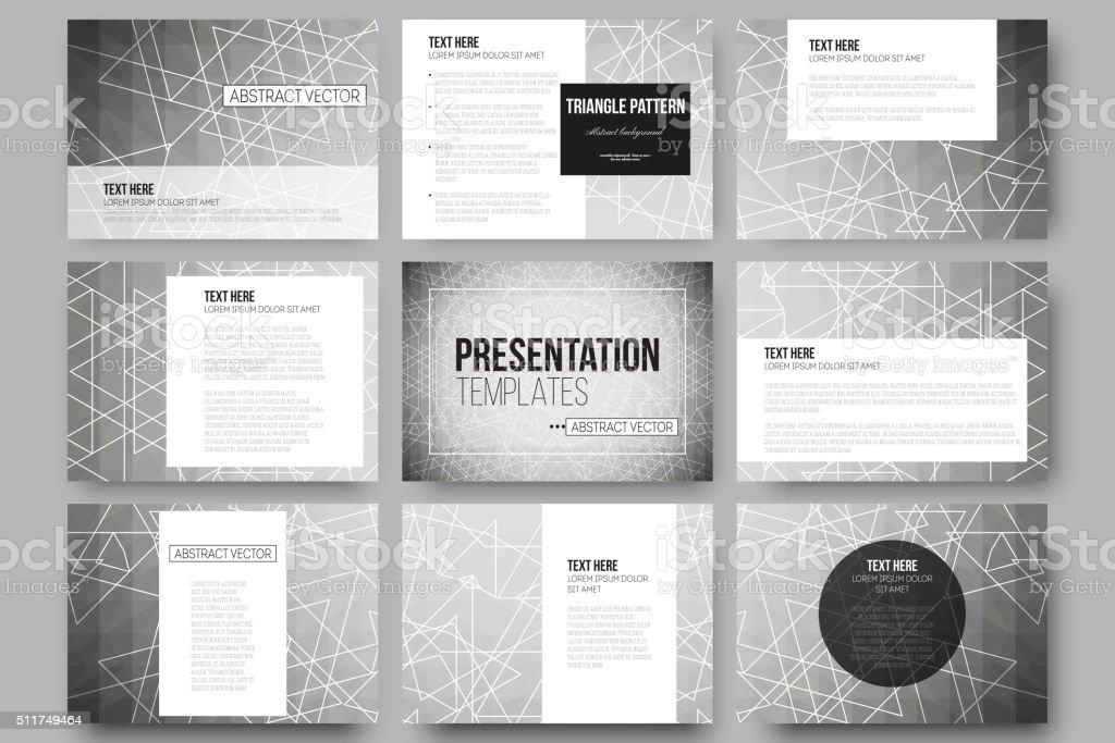 Set of 9 vector templates for presentation slides. Sacred geometry vector art illustration