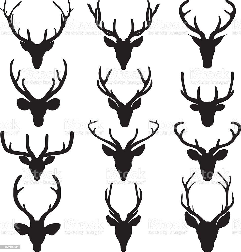 Set of a deer head silhouette on white background vector art illustration