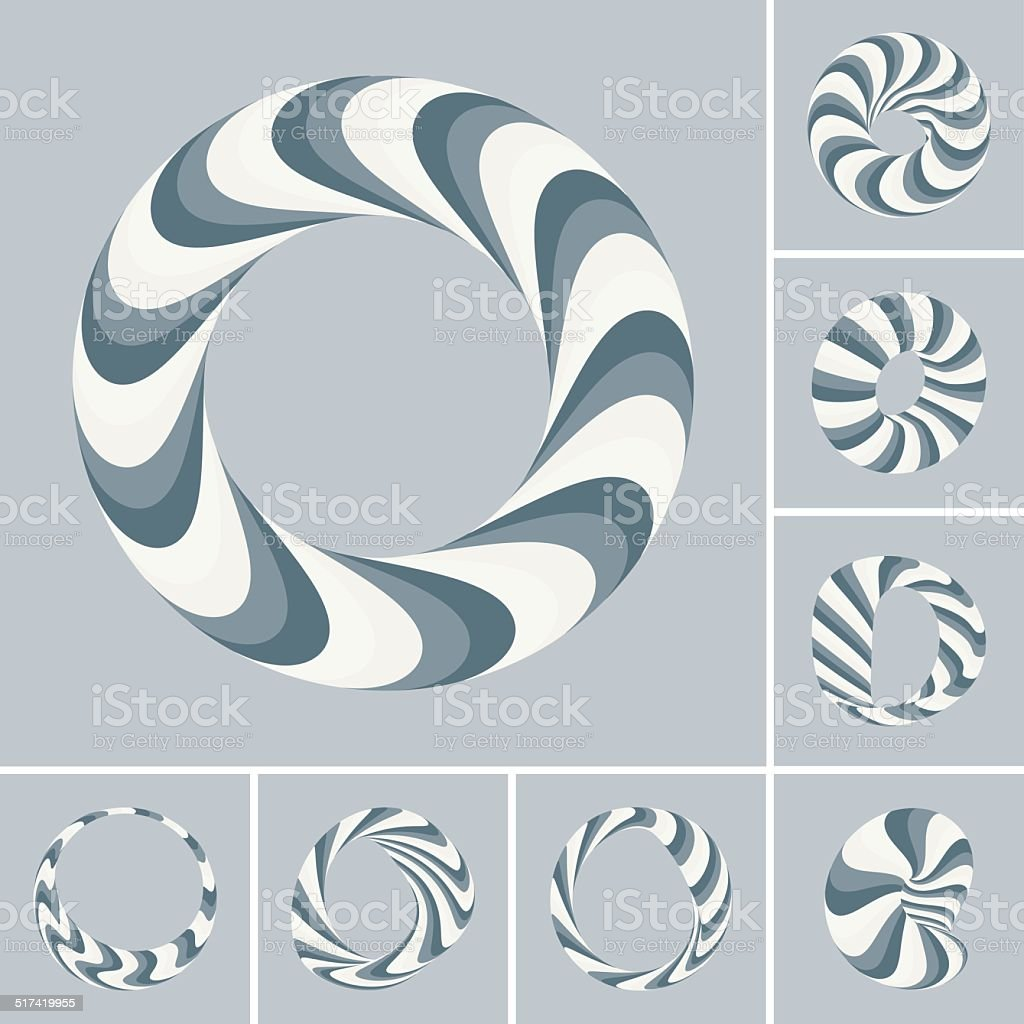 Set of abstract 3d vector icons such emblems. 3d bracelets/rings vector art illustration