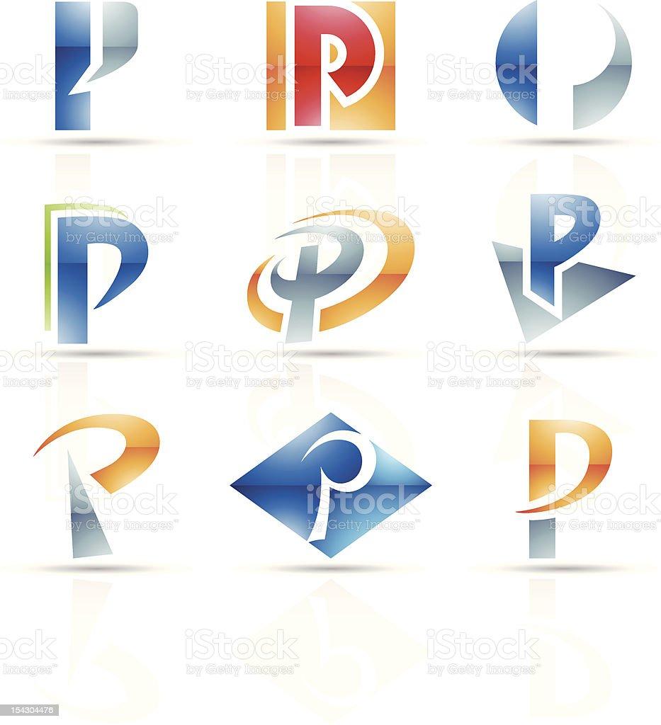 Icônes abstraites pour la lettre P stock vecteur libres de droits libre de droits