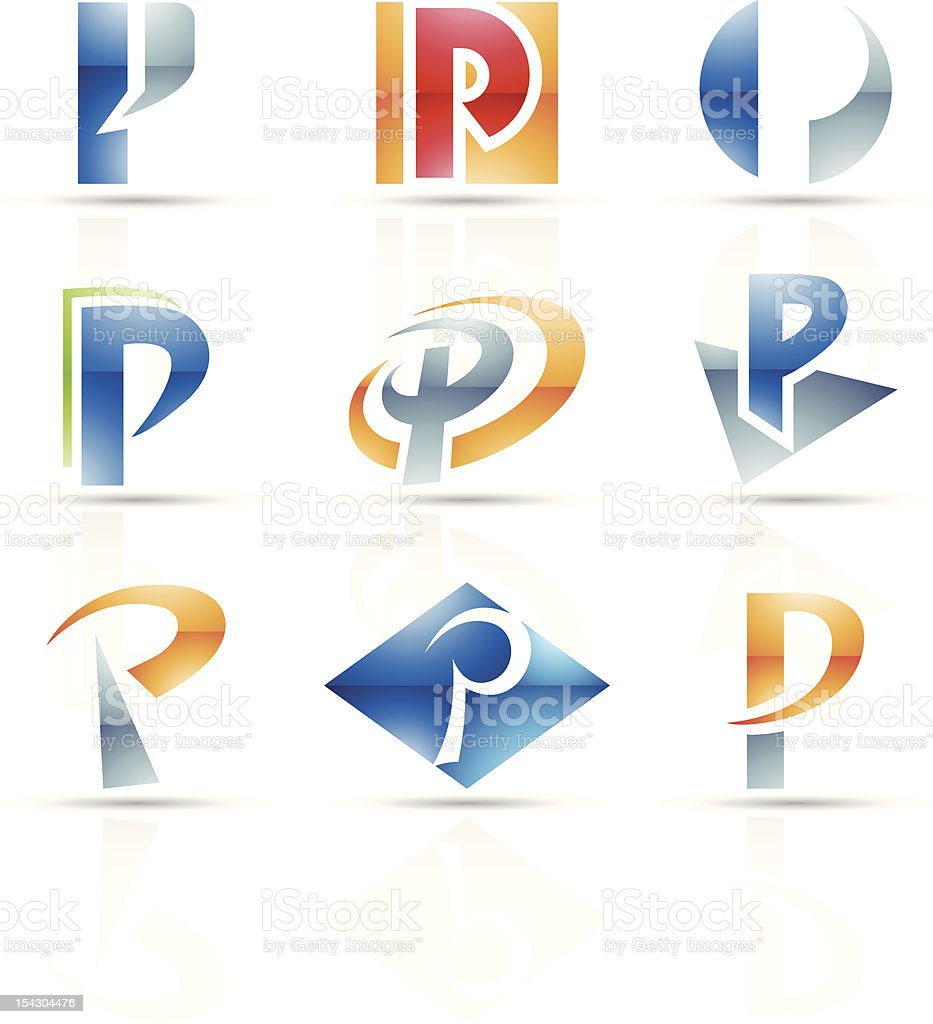 Set of abstract artistic letter p icons on white background vector art illustration