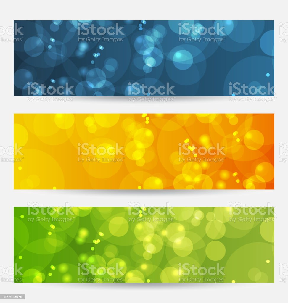 Set of abstract backgrounds with bokeh effect vector art illustration