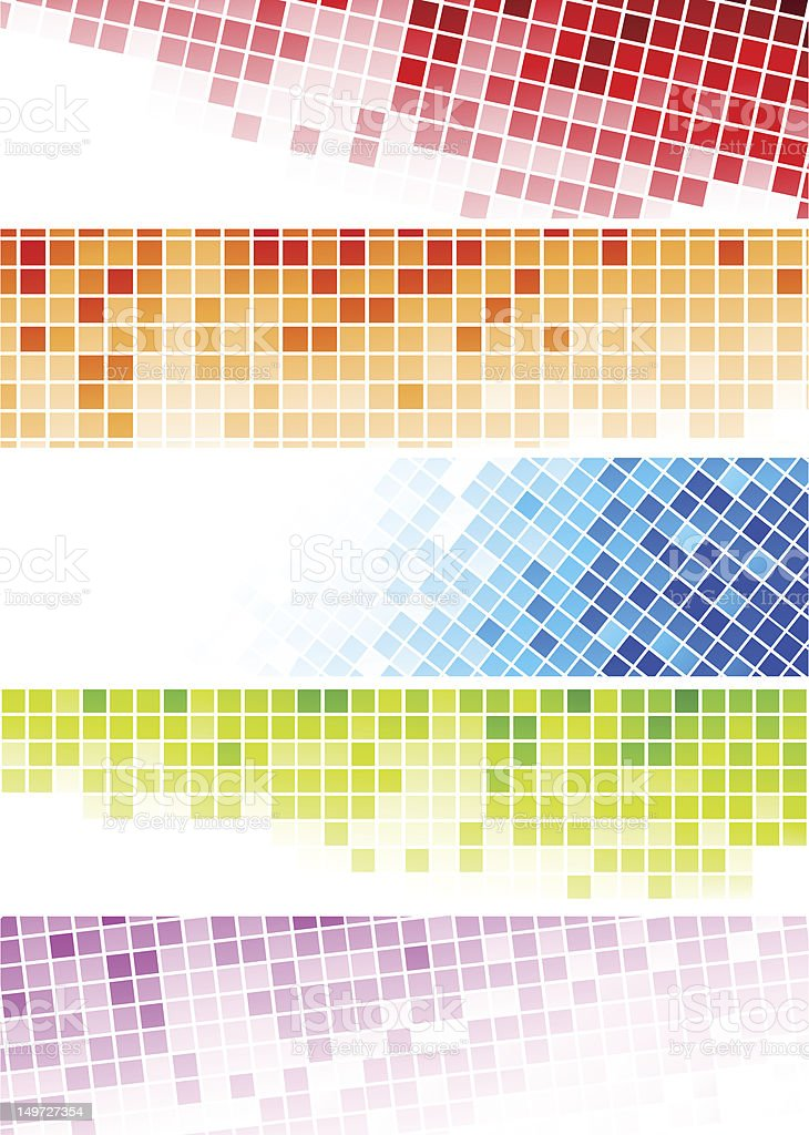 Set of abstract banners - colourful squares royalty-free stock vector art