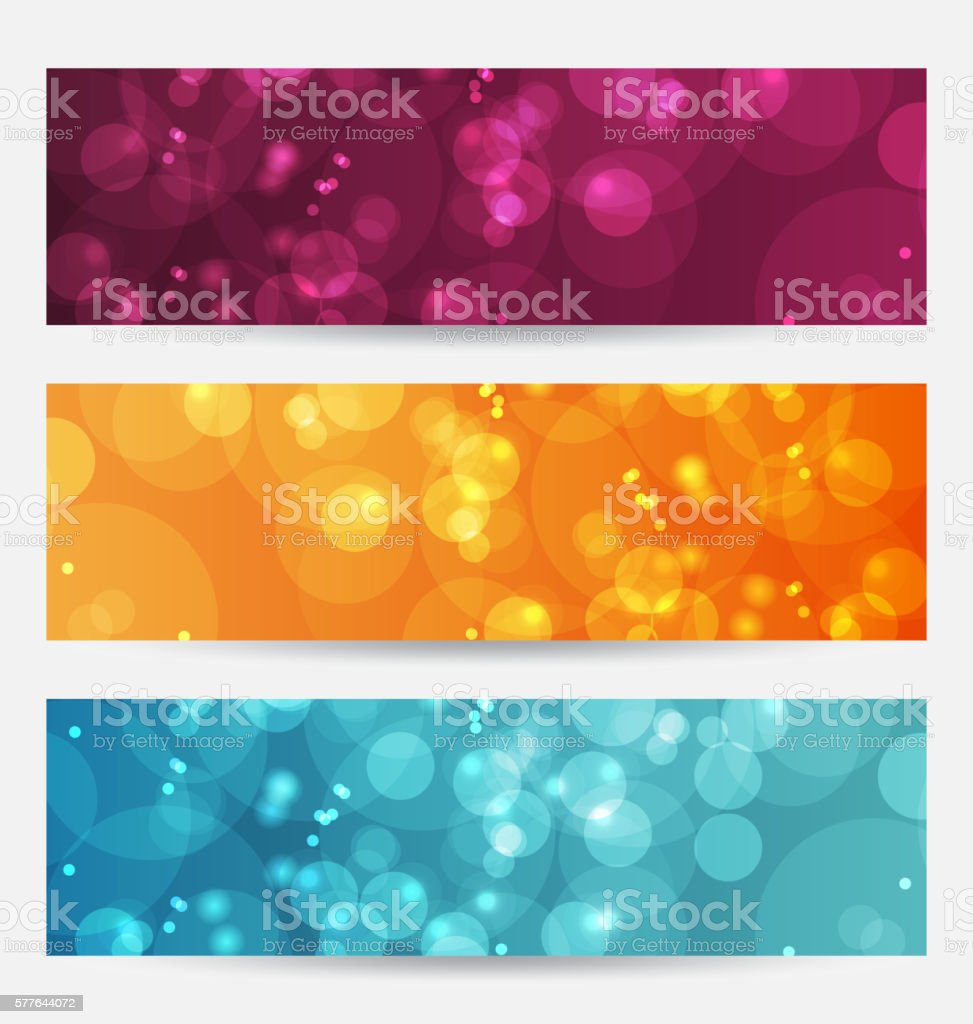 Set of abstract banners with bokeh effect vector art illustration