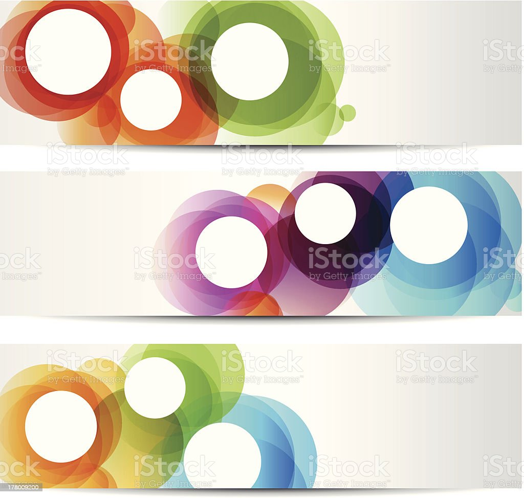 Set of abstract banners with colorful circles vector art illustration