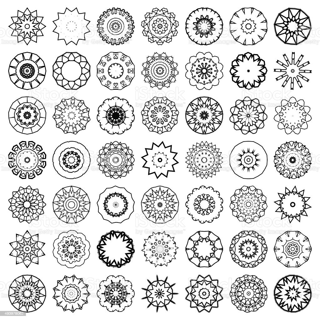 set of abstract black and white floral pattern icon vector art illustration