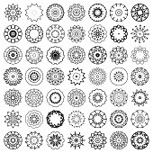 set of abstract black and white floral pattern icon