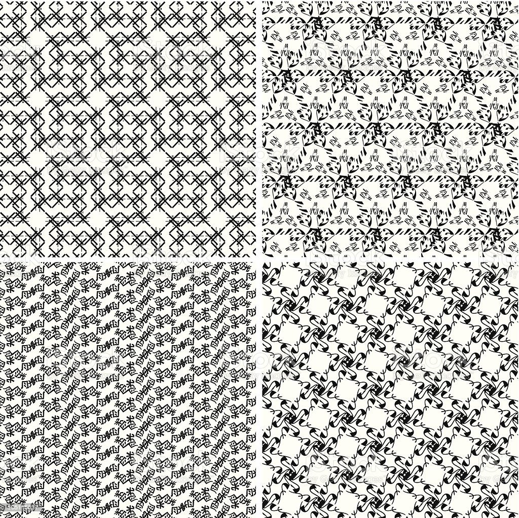 set of abstract black and white vector decoration pattern background royalty-free stock vector art