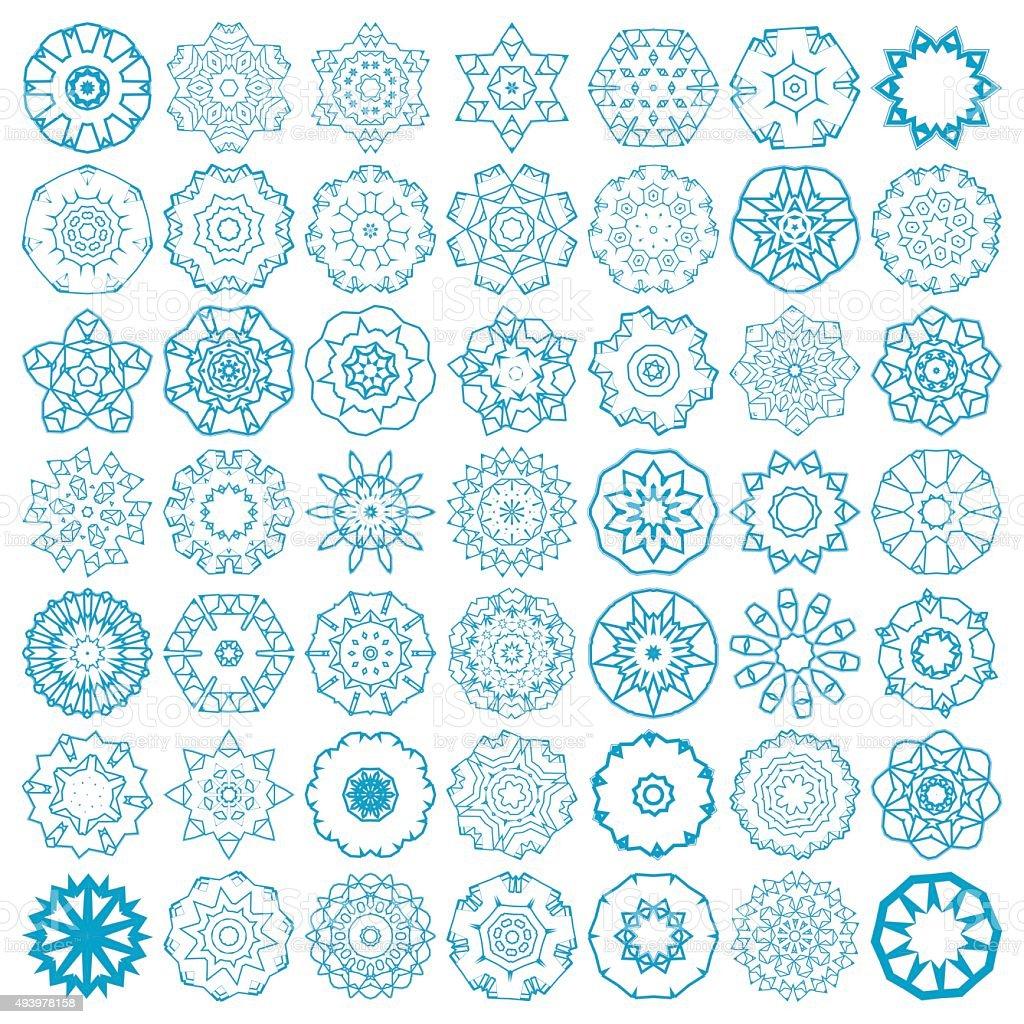 set of abstract blue mandala floral pattern icon vector art illustration