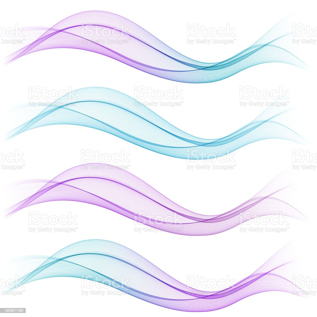 Set of abstract blue waves. Vector illustration vector art illustration