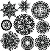 Set of Abstract circle lace patterns