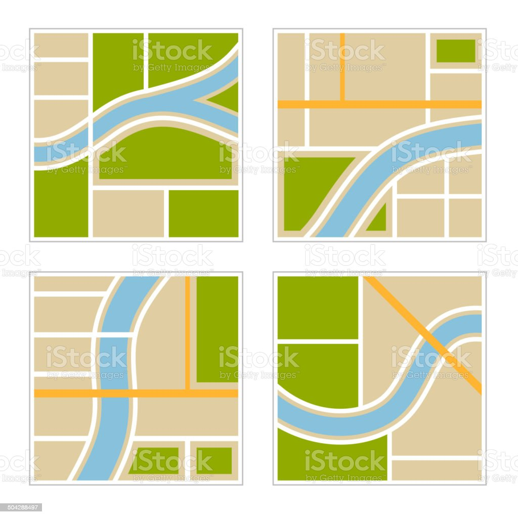 Set of Abstract City Map Illustration. Vector royalty-free stock vector art