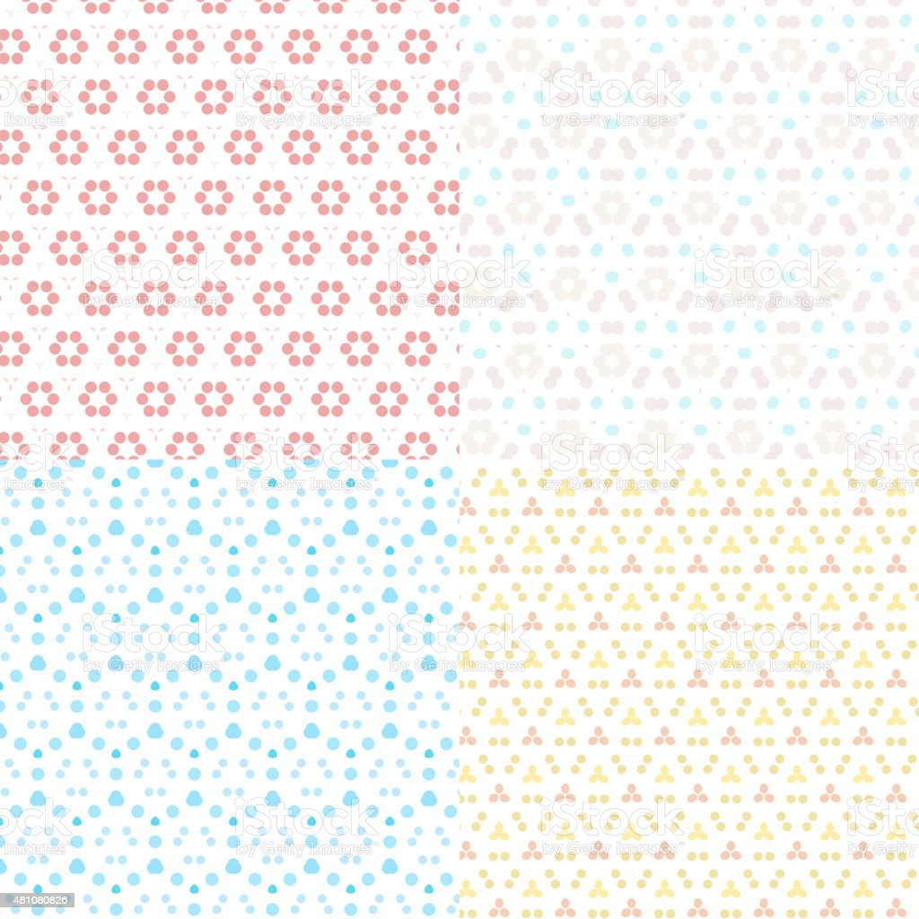 set of abstract color floral pattern background vector art illustration