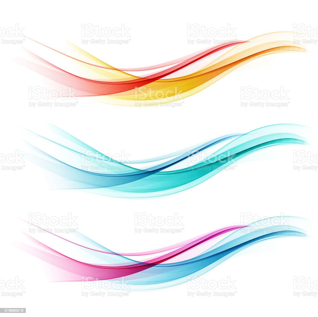Set of abstract color wave vector art illustration
