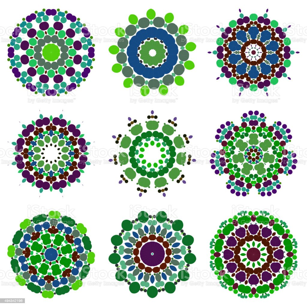 set of abstract colorful floral pattern icon vector art illustration