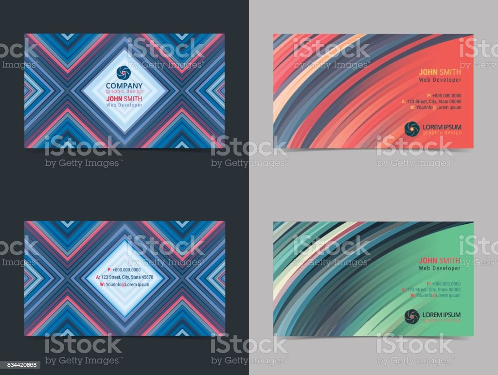 Set of abstract creative Business card design layout template with colorful background. Modern Backgrounds. Vector illustration. vector art illustration