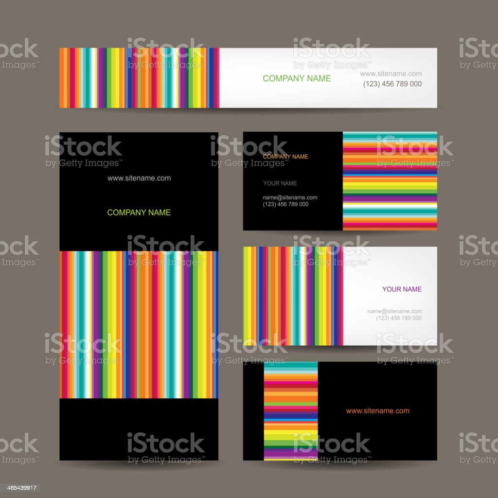Set of abstract creative business cards design vector art illustration