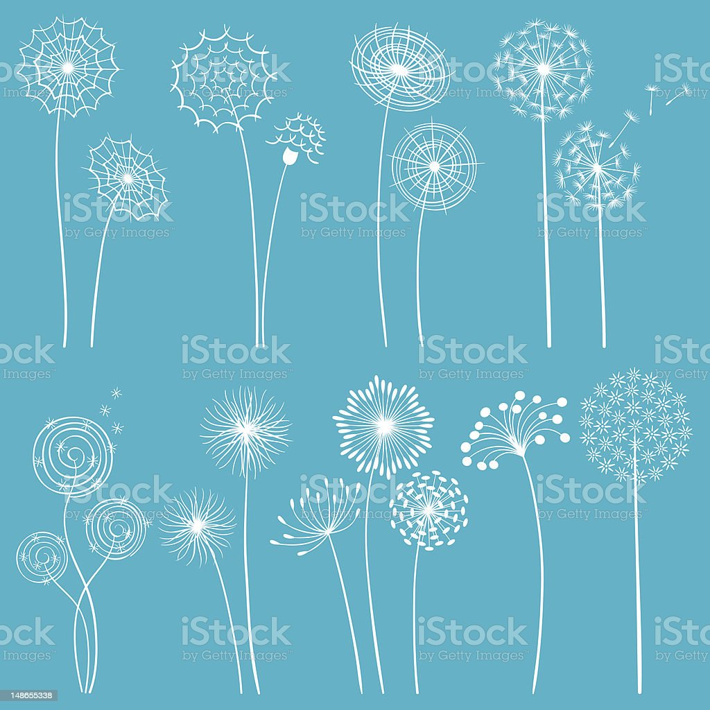Set of abstract dandelion seed heads white line on blue vector art illustration