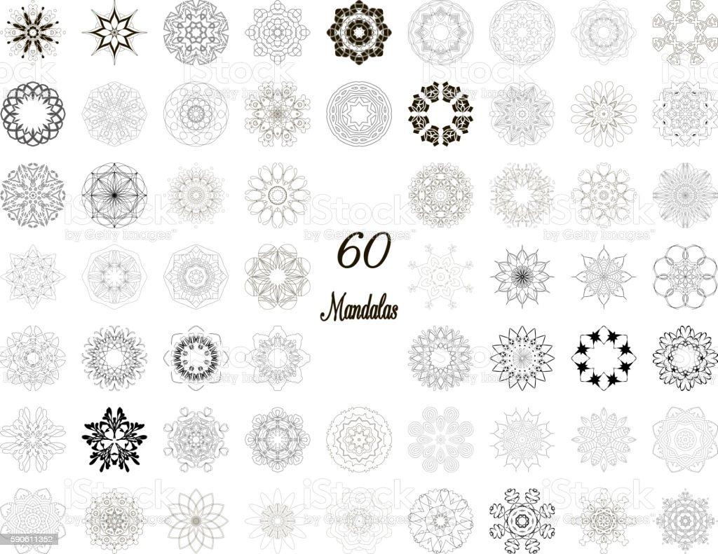 Set of abstract design element. Round mandalas in vector. vector art illustration