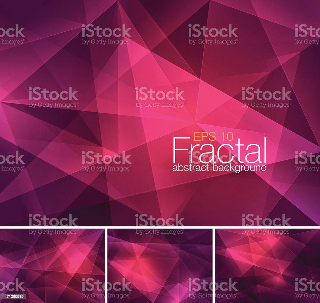 Set of abstract fractal backgrounds vector art illustration