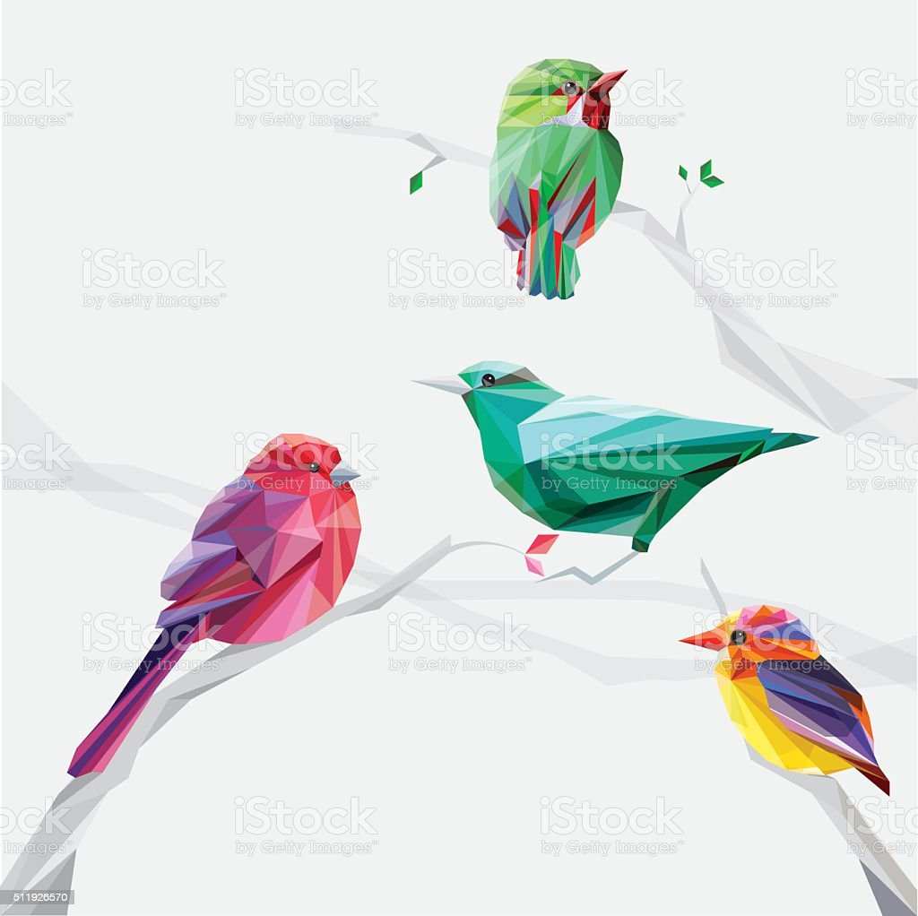 Set of abstract geometric colorful birds vector art illustration