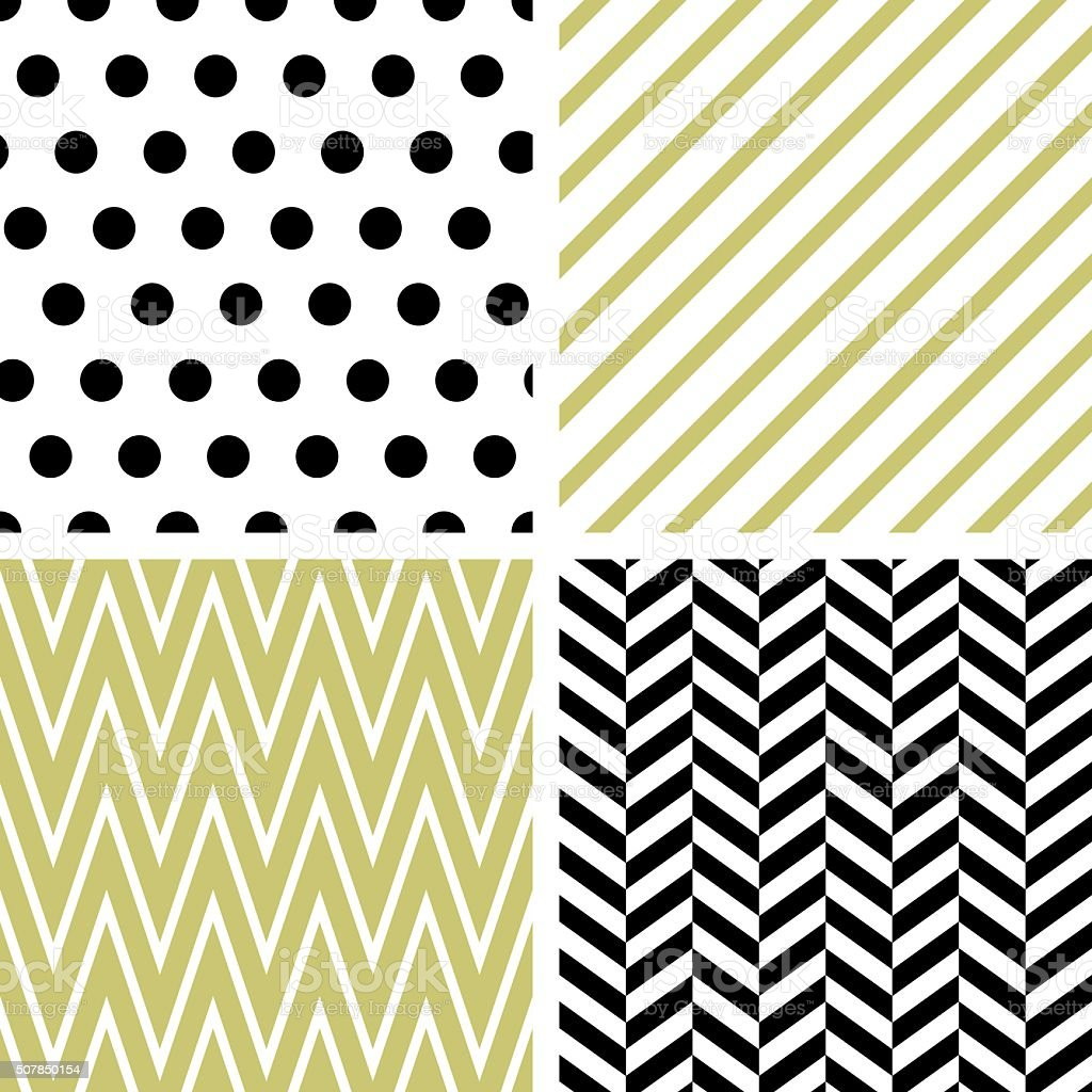 Set of abstract geometric seamless patterns vector art illustration