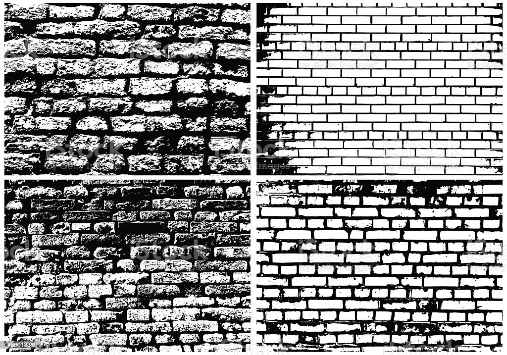 Set of Abstract Grunge Brick Wall vector art illustration