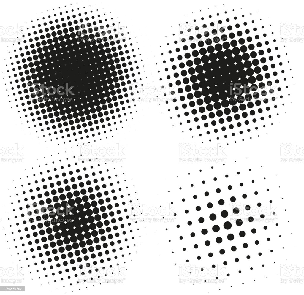 Set of Abstract Halftone Design Elements vector art illustration