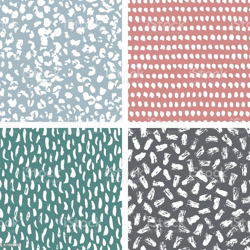 Set of abstract hand drawn seamless patterns, brush strokes textures vector art illustration