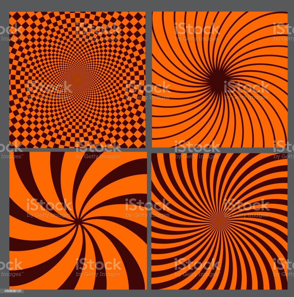 Set of abstract hypnotic backgrounds. vector illustration royalty-free stock vector art