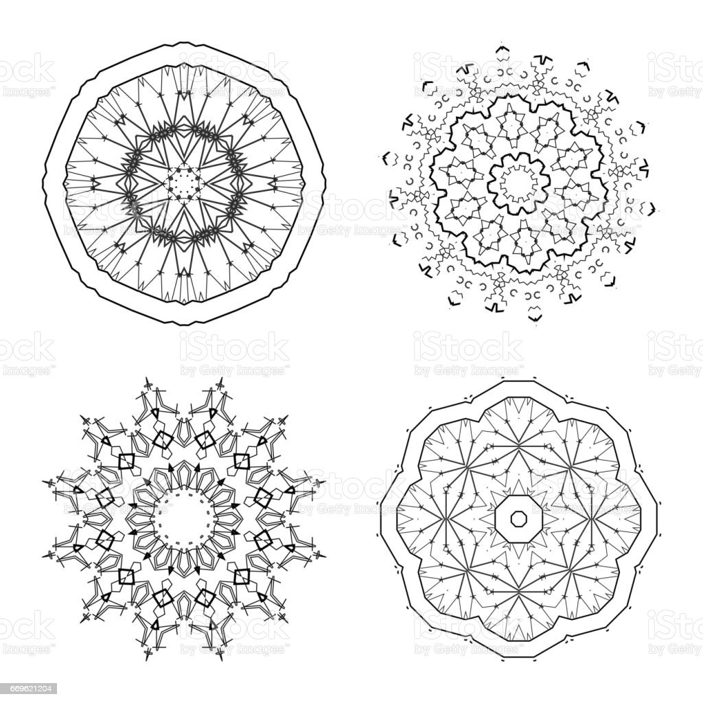 Set of abstract line Rosette icon vector art illustration