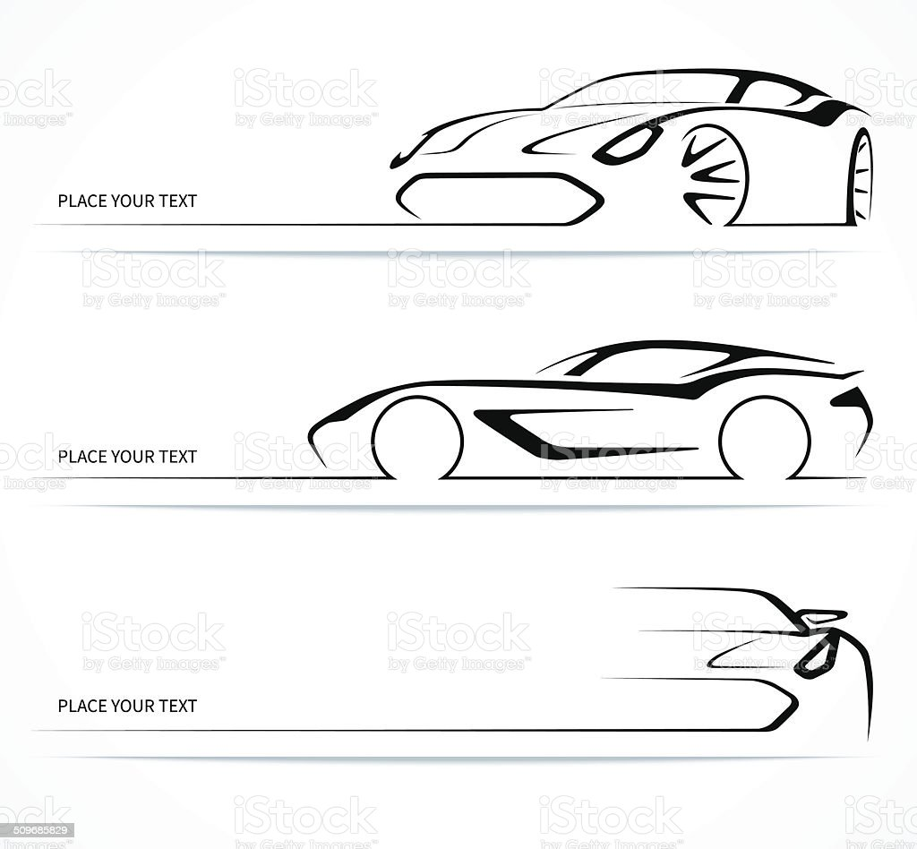 Set of abstract linear car silhouettes. vector art illustration