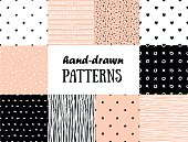 Set of abstract seamless patterns in pink, white and black