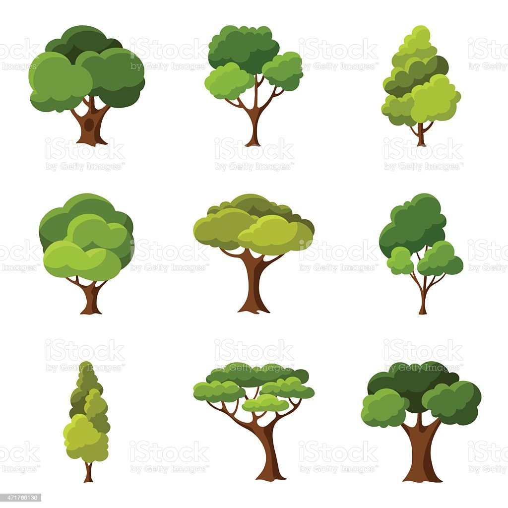 Set of abstract stylized trees vector art illustration