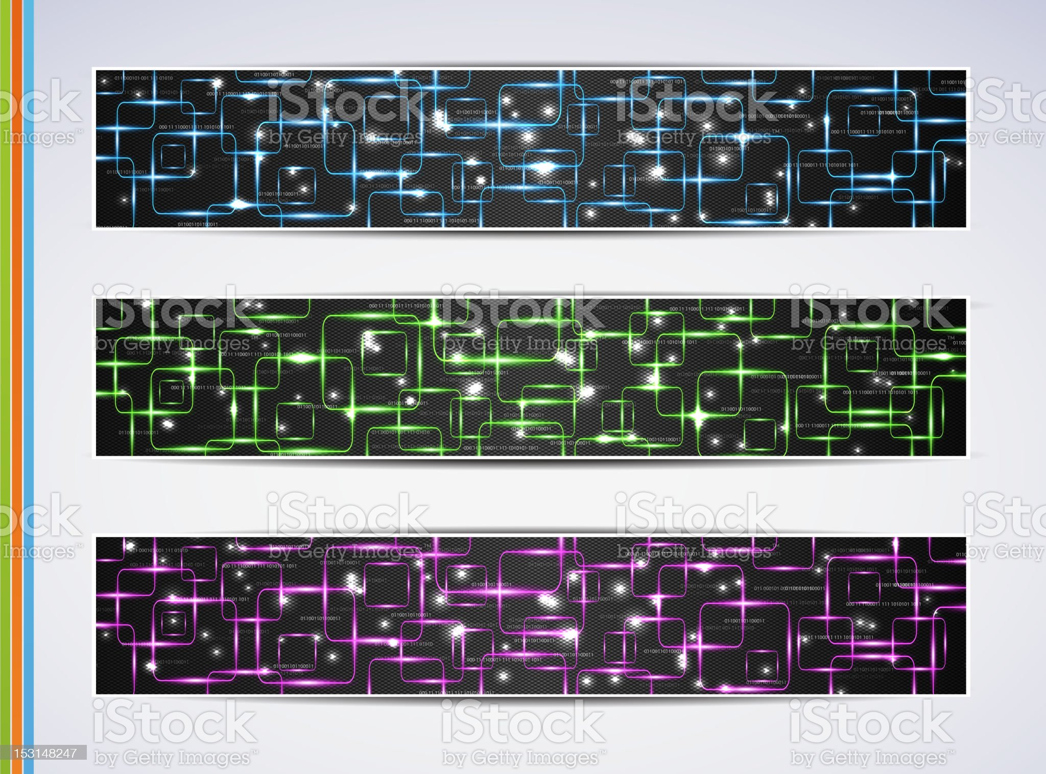 Set of abstract technology web banner royalty-free stock vector art