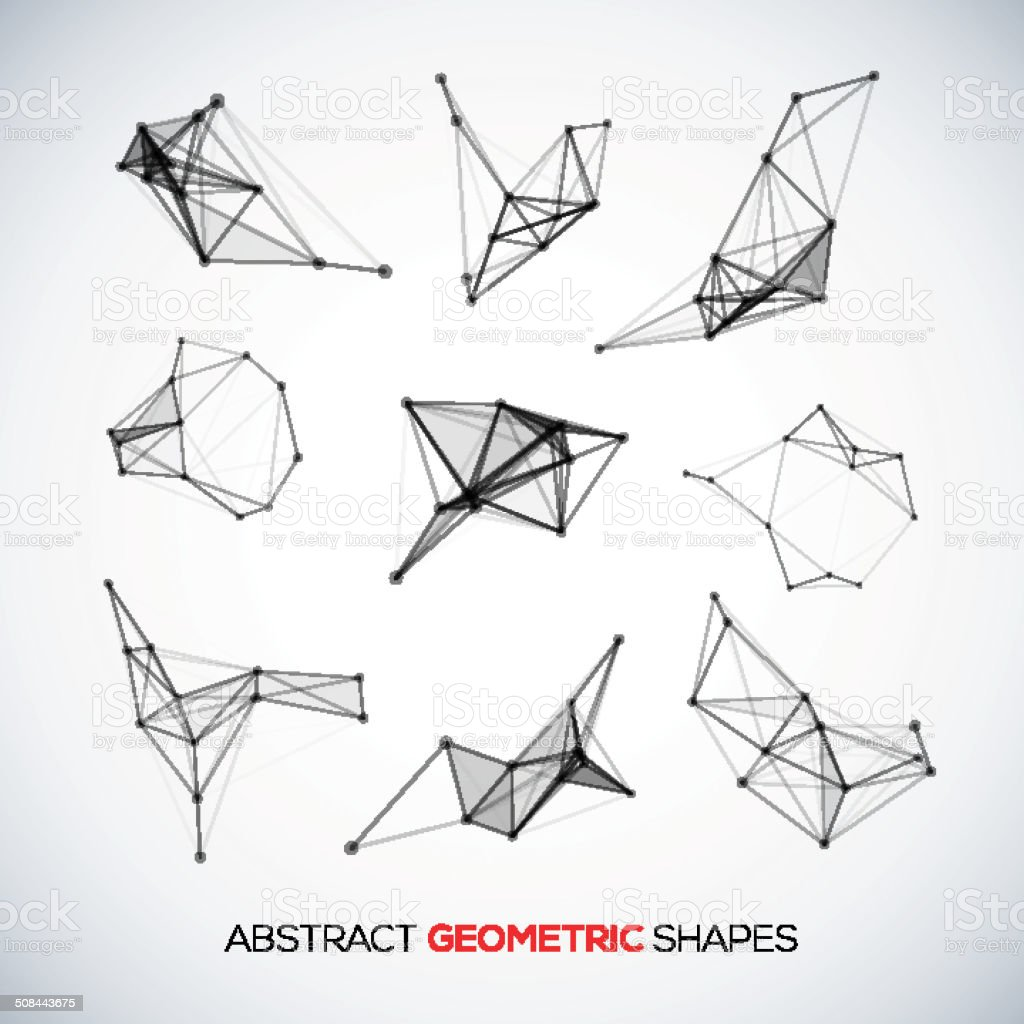 Set of abstract vector geometric shapes vector art illustration