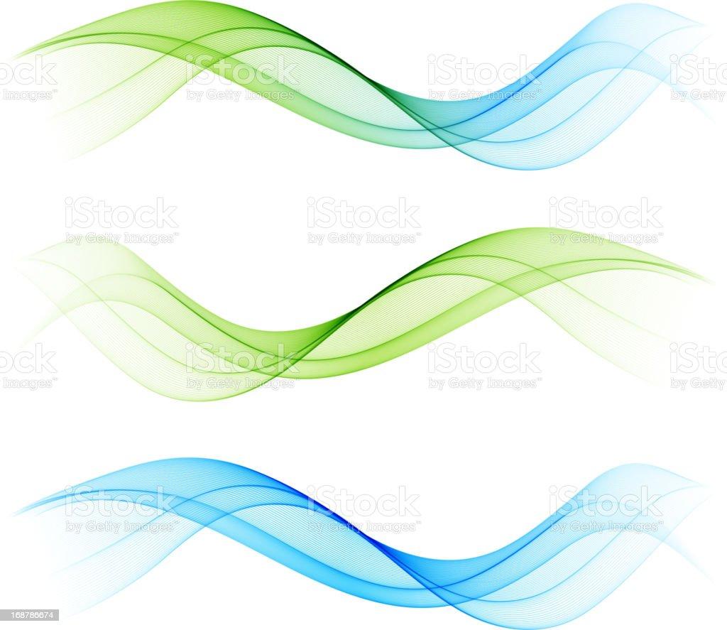 Set of abstract wave design element vector art illustration