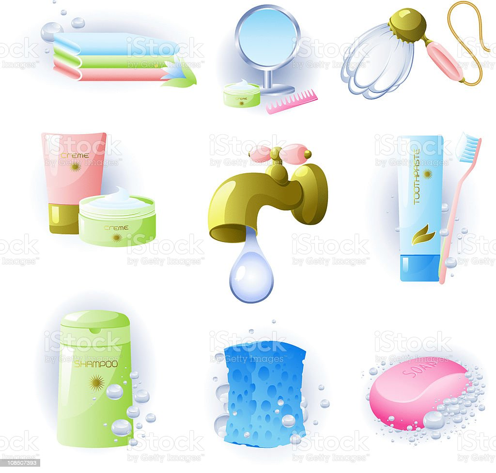 Set of accessories for personal hygiene royalty-free stock vector art