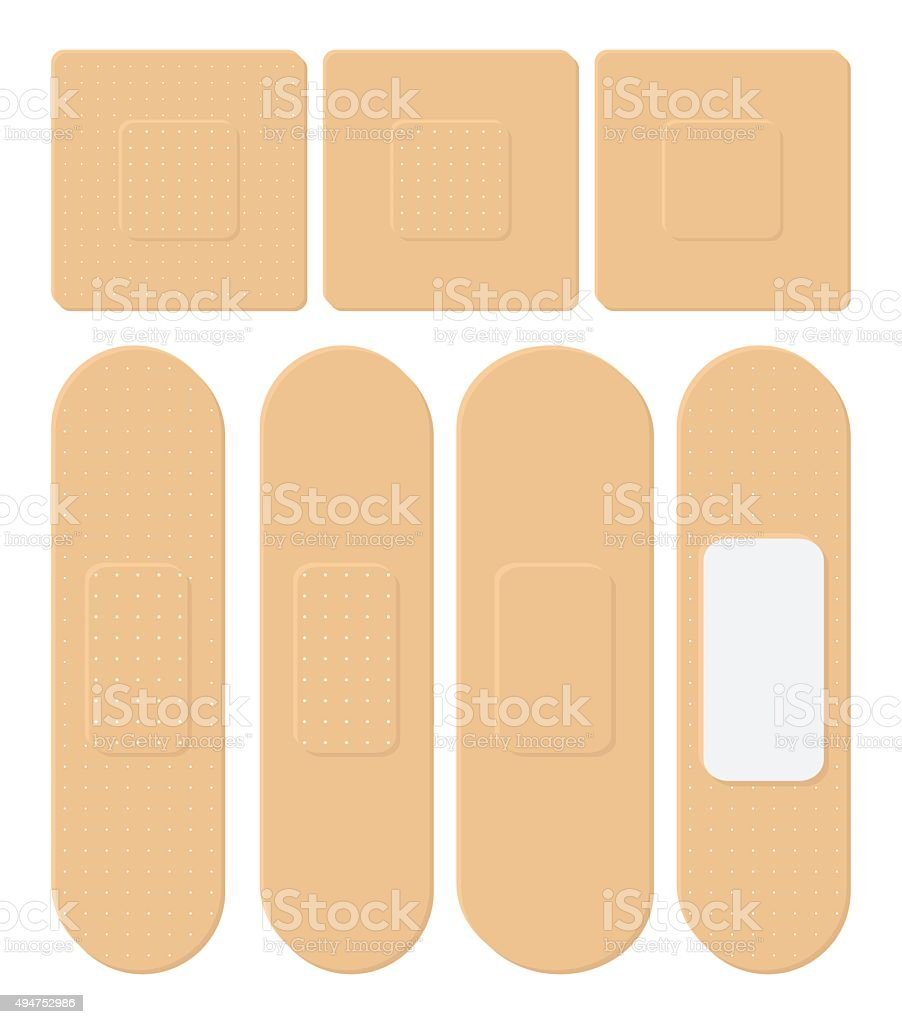 Set of Adhesive, flexible, fabric plaster. vector art illustration