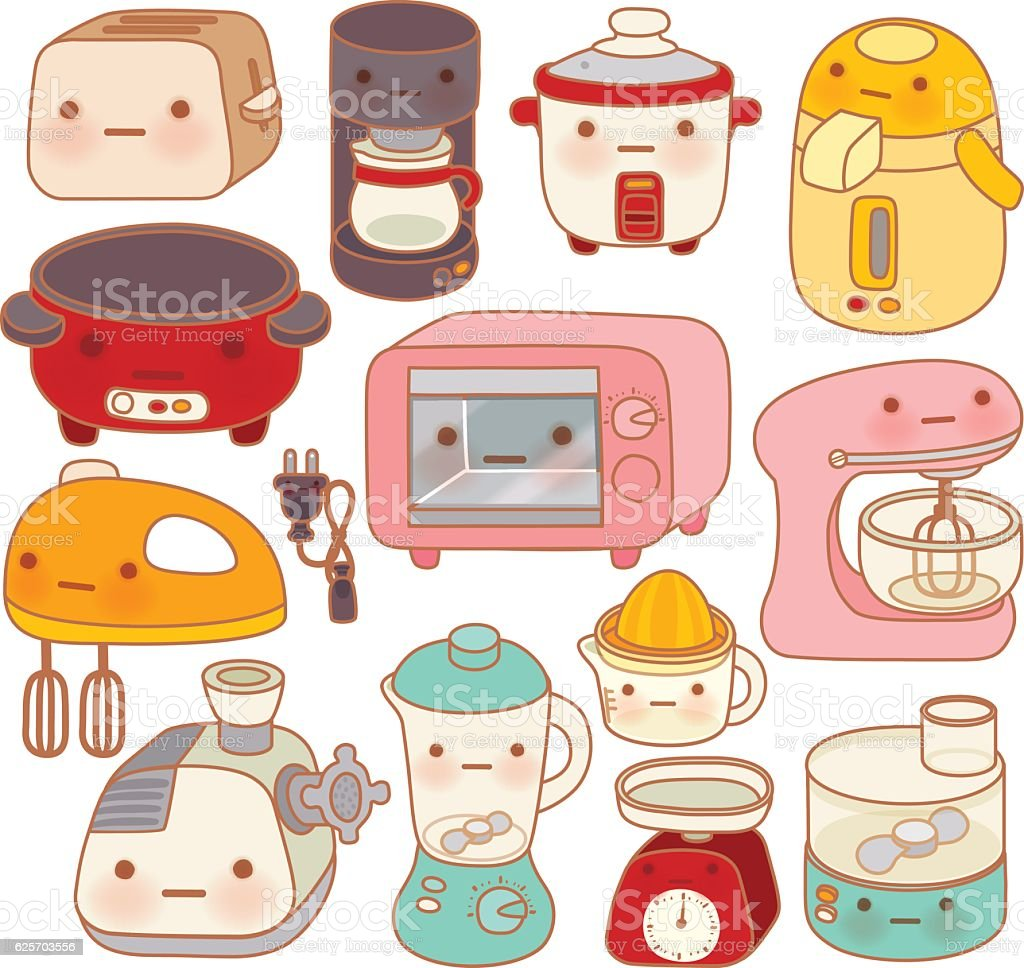 Set of adorable kitchen appliances , cute kettle , lovely oven , vector art illustration